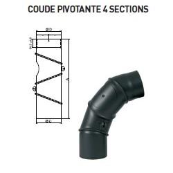 COUDE PIVOTANT 4 SECTIONS ET TRAPPE DE VISITE D150